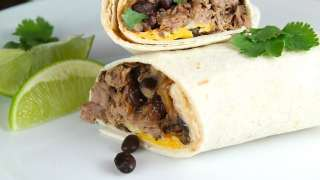 Slow Cooker Beef and Bean Burritos