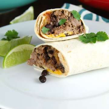 Slow Cooker Beef and Bean Burritos Recipe to feed a crowd from MissintheKitchen.com