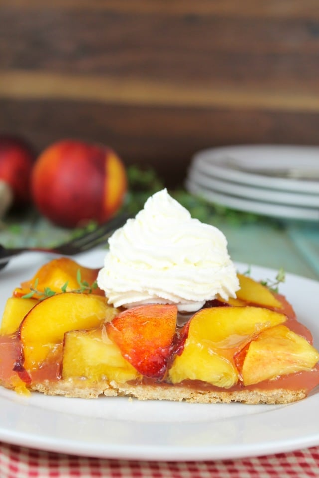 Peach Slab Pie Recipe perfect for any occasion! From MissintheKitchen.com