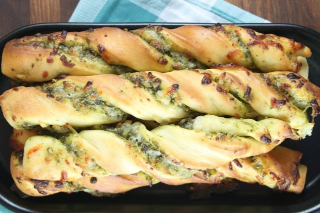 Cheesy Pesto Breadsticks - Recipe from MissintheKitchen #ad