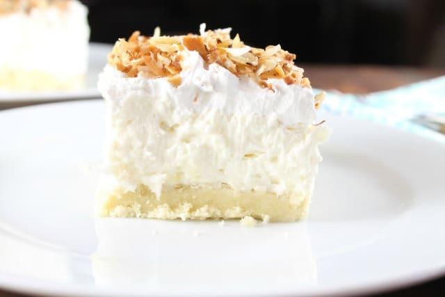 Easy Coconut Cream Pie Bars Recipe from Missinthekitchen.com