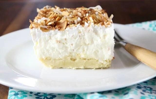 Coconut Cream Pie Bars Recipe ~ MissintheKitchen