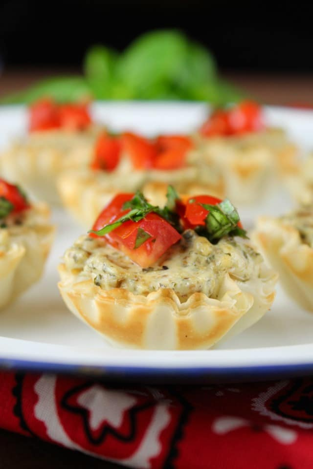 Mini Tomato Pesto Tarts ~ delicious appetizer recipe from MissintheKitchen.com #BBQBites #ad