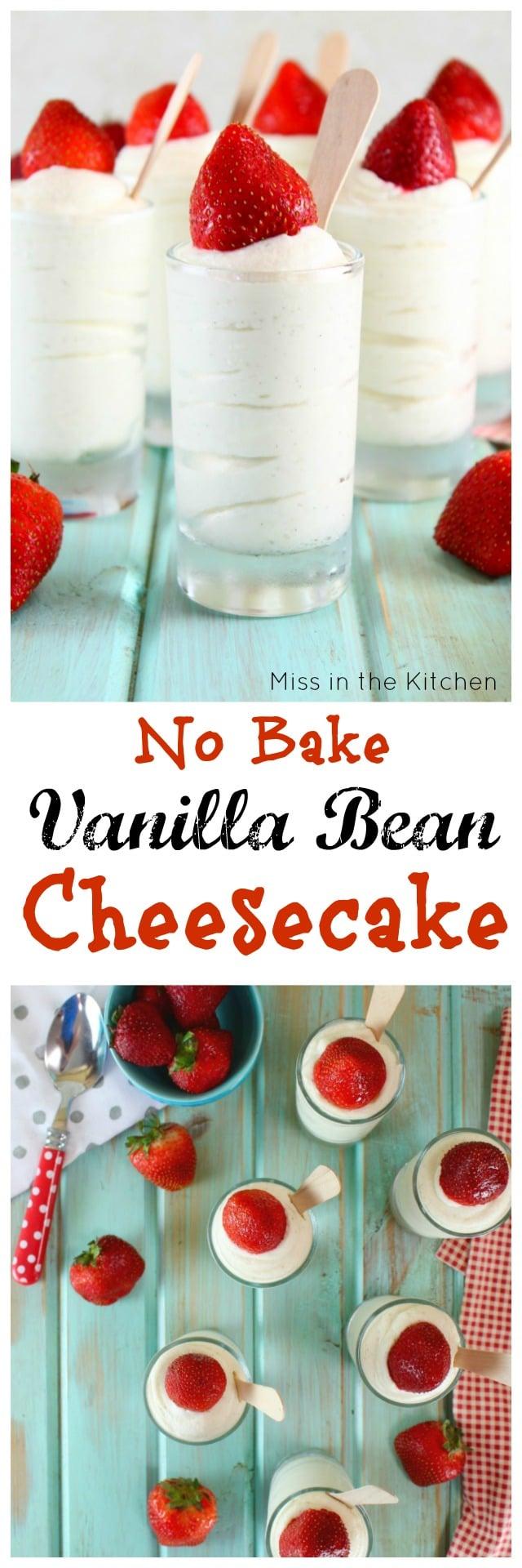 No Bake Vanilla Bean Cheesecake Recipe ~ Easy Dessert for entertaining ~ MissintheKitchen.com