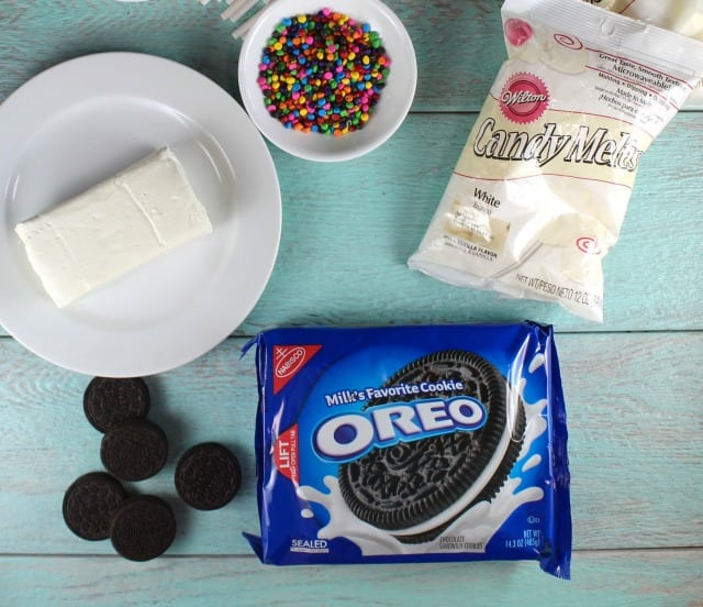 Ingredients for OREO Cookie Balls from MissintheKitchen.com