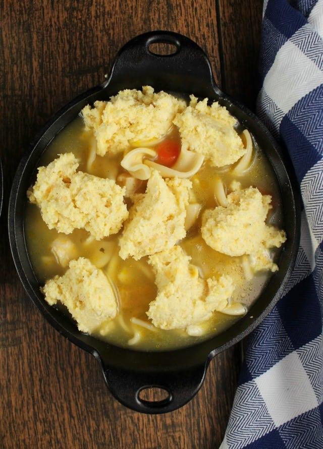 Cheesy Cornbread Chicken & Noodle Pot Pie Ready for the Oven ~ MissintheKitchen.com #ad