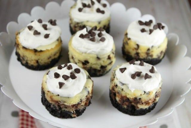 Mini Chocolate Chip Cheesecakes Recipe ~ MissintheKitchen.com