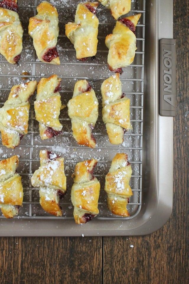 Mini Raspberry Croissants ~ Recipe at MissintheKitchen.com