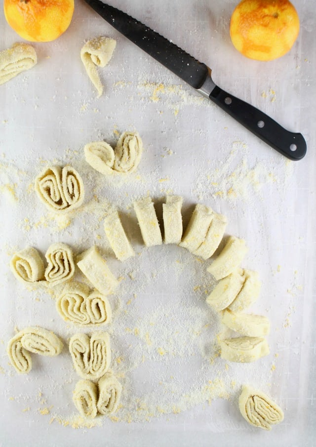Orange Scented Palmiers Sliced and Ready for the Oven from MissintheKitchen.com