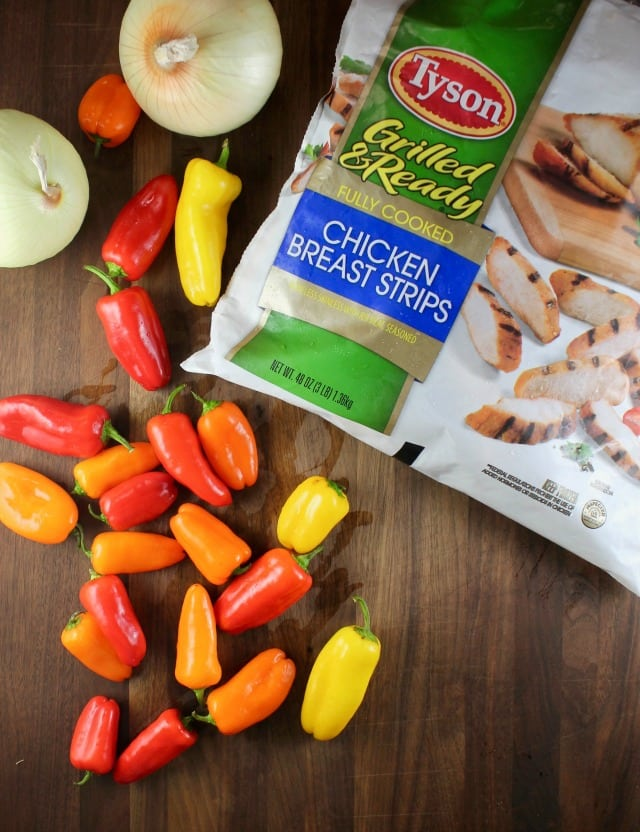 Tyson Grilled and Ready Chicken Strips make for an easy dinner like Sheet Pan Chicken Fajitas ~ MissintheKitchen.com