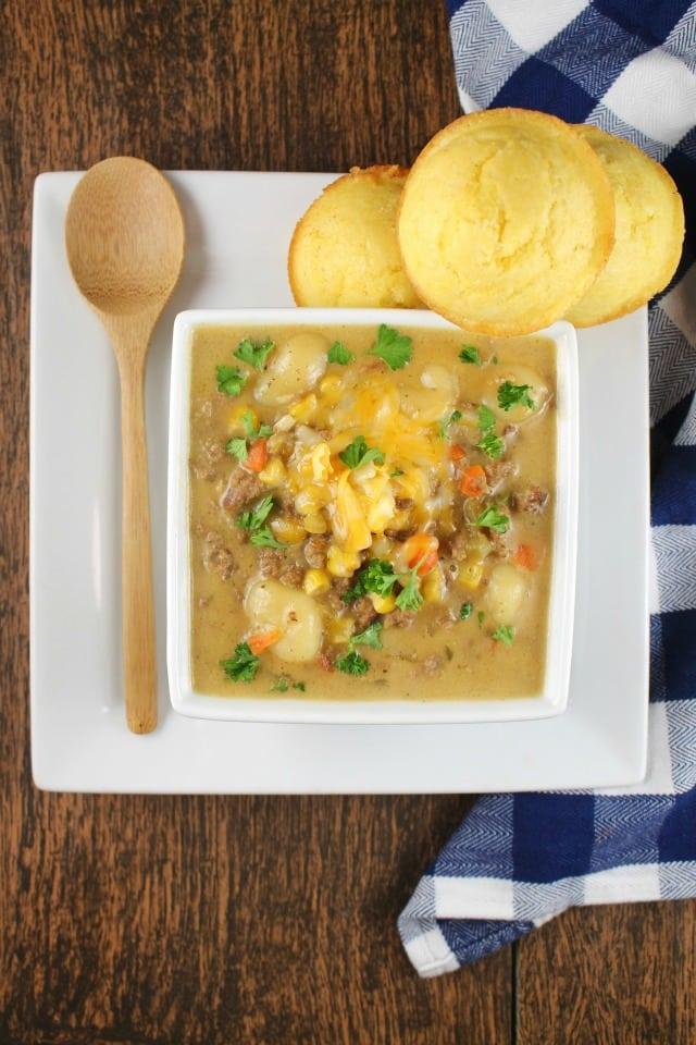 Cheeseburger Gnocchi Soup is a family favorite dinner for any night of the week. Recipe from MissintheKitchen.com