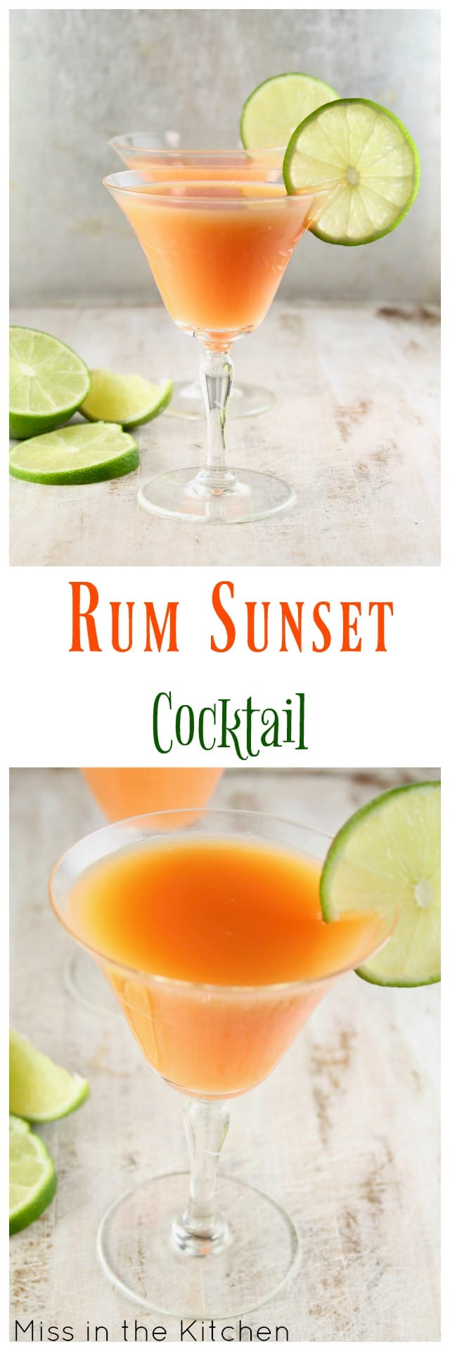 Rum Sunset Cocktail ~ Easy Large Batch Cocktail for Parties ~ MissintheKitchen.com