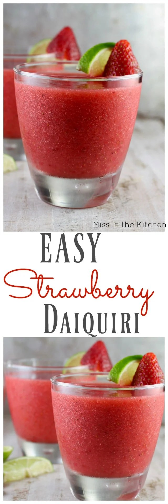 Easy strawberry daiquiri simple cocktail recipe for Simple mixed drink recipes