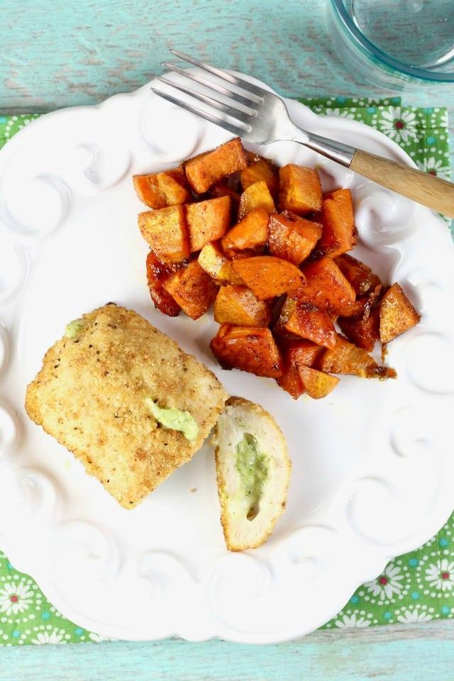 Stuffed Chicken Sweet Potato Sheet Pan Meal Recipe ~ easy weeknight dinner ~ MissintheKitchen.com #ad
