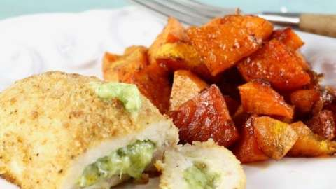 Barber Foods Stuffed Chicken Sweet Potato Sheet Pan Meal is the perfect weeknight dinner recipe from MissintheKitchen.com #ad