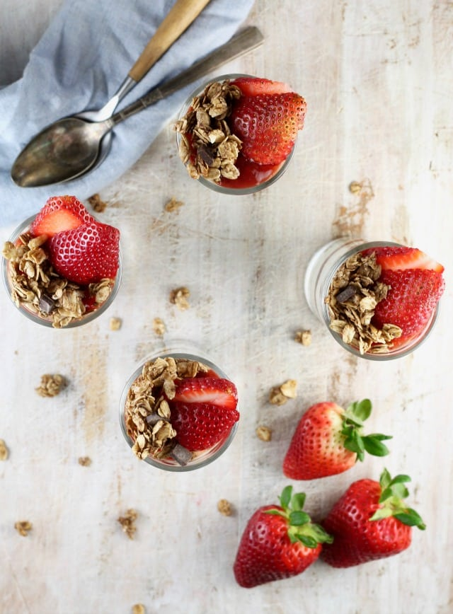 Recipe for No Bake Strawberry Cheesecake Breakfast Parfaits from MissintheKitchen.com #ad