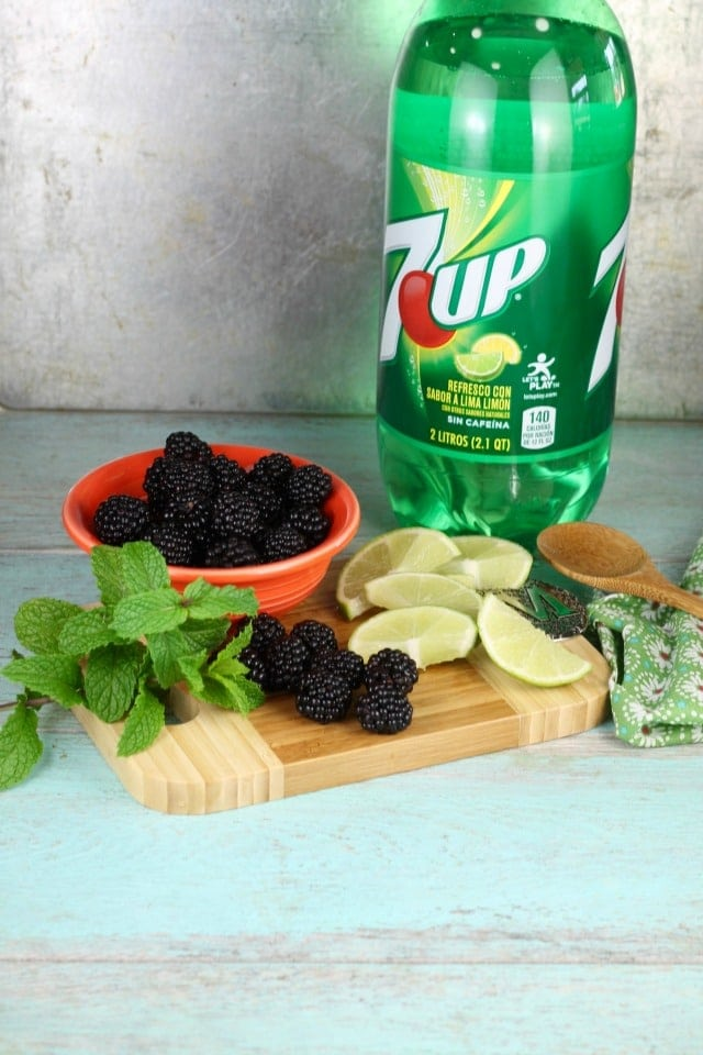Easy Blackberry Mojitos Recipe ingredients made so simply with 7UP! Get the recipe and more at MissintheKitchen.com #ad #MixItUpALittle