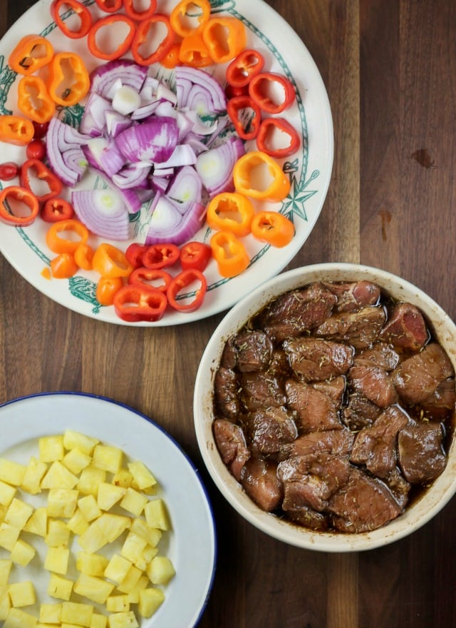 Ingredients for Balsamic Pork Skewers with Pineapple, Onion and Sweet Peppers ~ MissintheKitchen.com