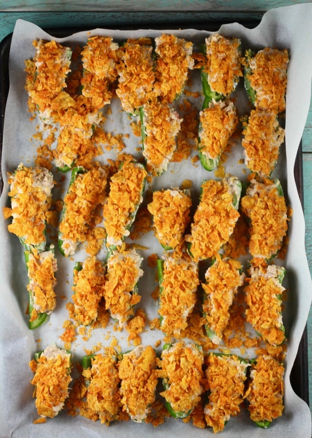 Doritos Chicken Jalapeno Poppers with crushed Doritos from MissintheKitchen.com #ad #SayYesToSummer