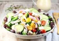 Greek Salad with Roasted Garlic Salad Dressing