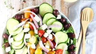 Greek Salad with Roasted Garlic Salad Dressing