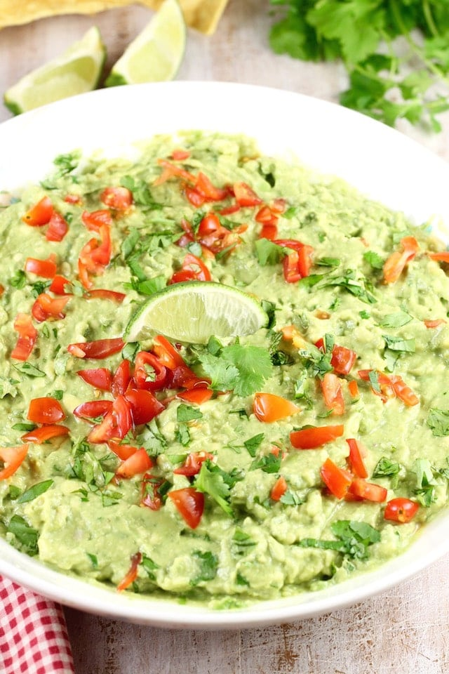 Roasted Garlic Guacamole Recipe from MissintheKitchen Easy Appetizer for parties.