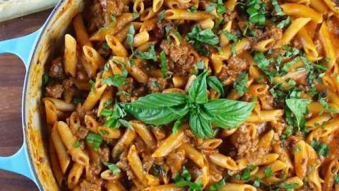 One Pot Sausage Penne Pasta Recipe from MissintheKitchen.com ~ Made with Barilla Pasta and Sauce #AD
