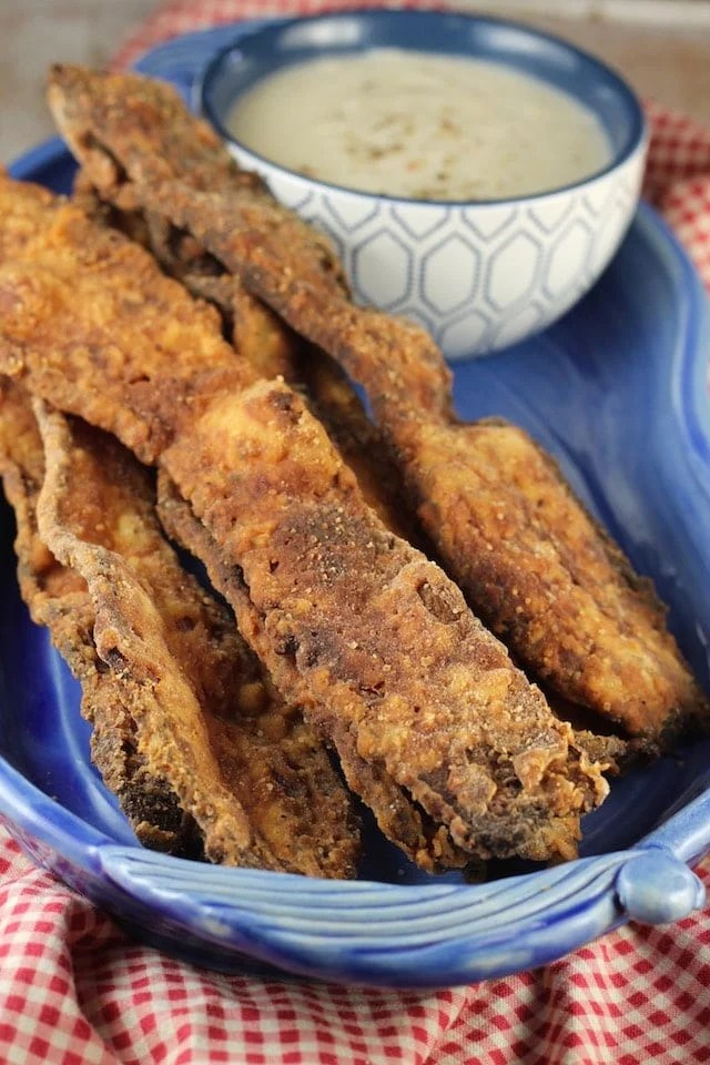 Chicken Fried Bacon Appetizer Recipe with Gravy ~ From MissintheKitchen.com