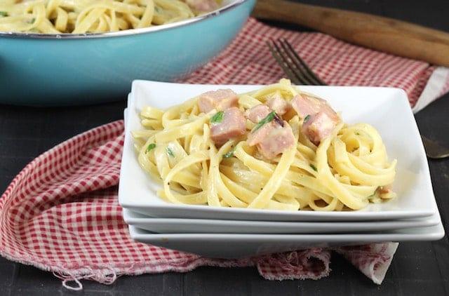 One Pot Cheesy Ham Pasta Dinner ~ MissintheKitchen.com