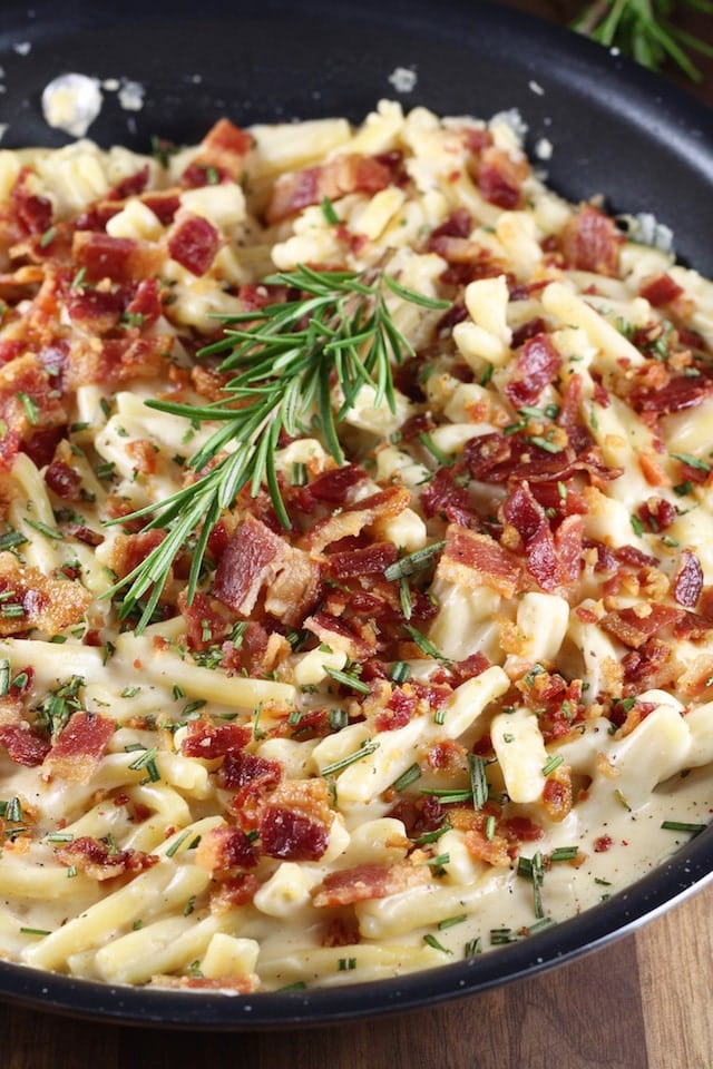 Bacon White Cheddar Pasta Recipe from MissintheKitchen.com with Petit Jean Meats
