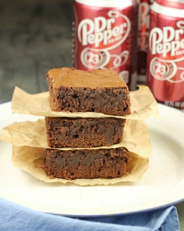 Dr. Pepper Brownies ~ Perfect for tailgating or any kind of entertaining. From MissintheKitchen.com #ad
