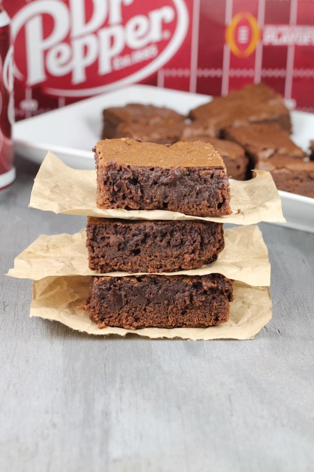 Dr. Pepper Brownies perfect for tailgating parties ~ MissintheKitchen.com #ad