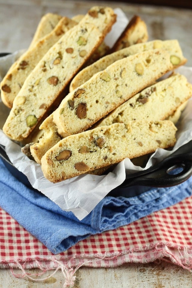 Lemon Pistachio Biscotti Recipe from MissintheKitchen.com #holiday #cookies