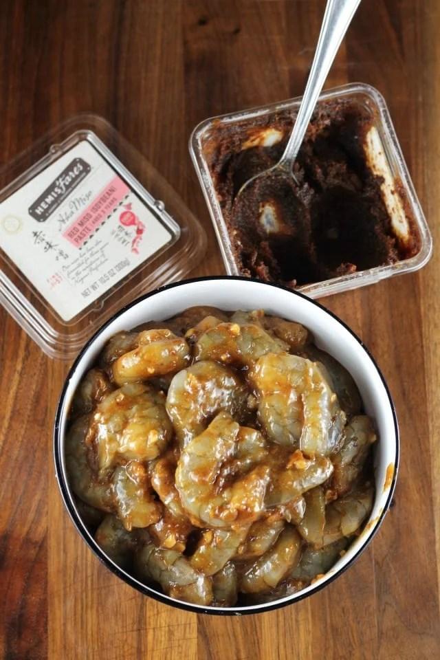 Marinating Shrimp for Miso Honey Garlic Shrimp Recipe ~ MissintheKitchen.com #shrimp #miso