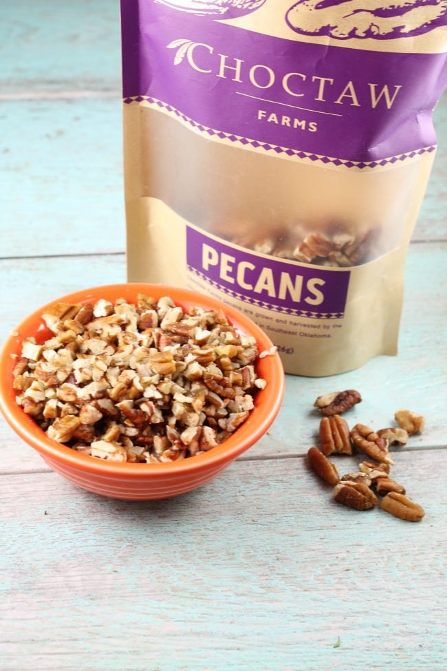 Chopped pecans for Cranberry Pecan Biscotti Recipe with Choctaw Farms Pecans ~ MissintheKitchen.com