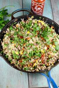 Christmas Brisket Fried Rice Recipe from Gale Simmon's Bringing it Home ~ MissintheKitchen.com #brisket #friedrice