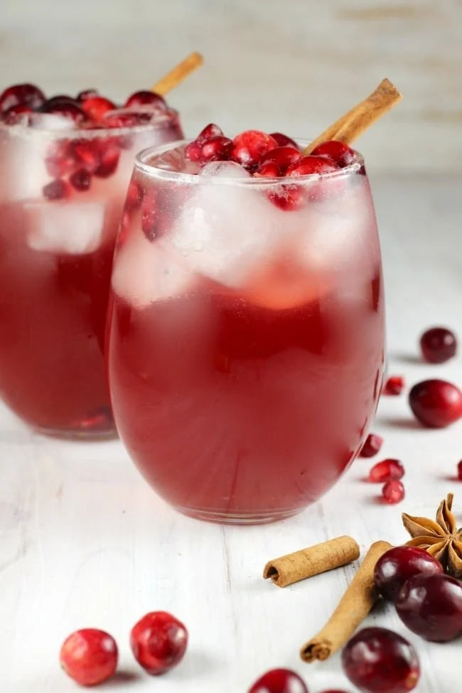 Recipe for Cranberry Wine Punch - large batch white wine cocktail for fall and winter holidays and celebrations from MissintheKitchen.com #ad #llanowines #whitewine #pintogrigio