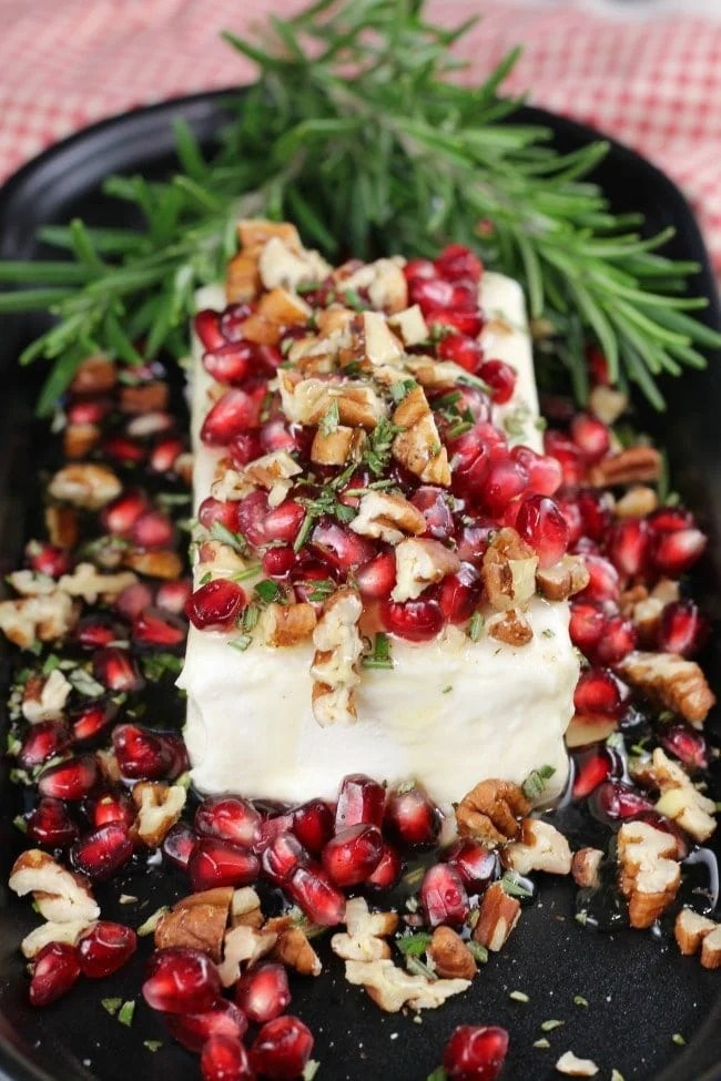 Easy Holiday Appetizer: Pomegranate Pecan Party Appetizer ~ Just 5 ingredients!! Recipe from MissintheKitchen.com #holiday #party #appetizer
