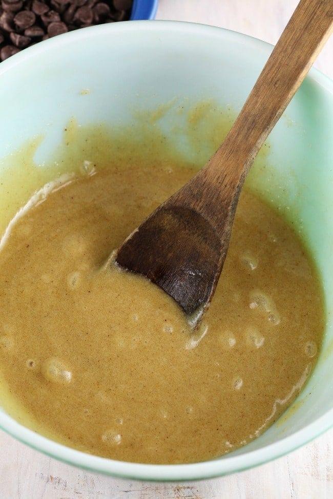 batter for salted caramel cookie bars