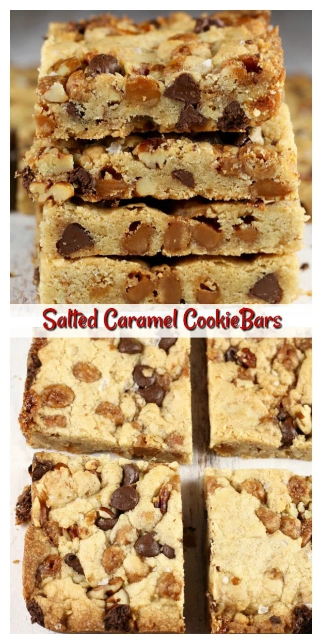 Salted Caramel Cookie Bars Photo Collage