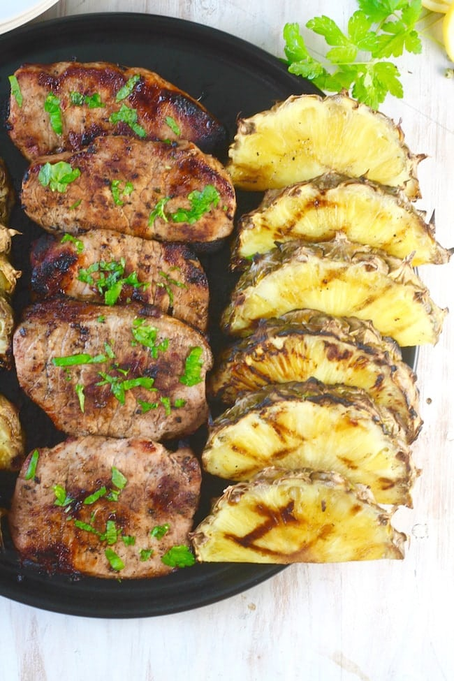 Easy Citrus Grilled Pork Chops with Grilled Pineapple