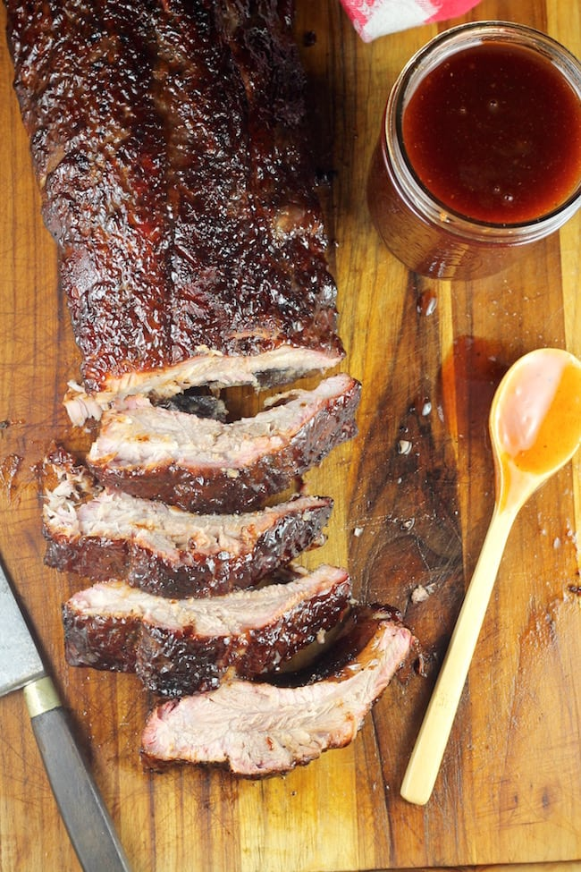 Dr Pepper Barbecue Baby Back Ribs Sliced with Dr Pepper Barbecue Sauce