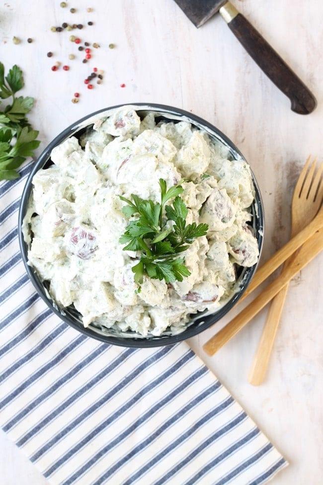 Creamy Dill Potato Salad in bowl