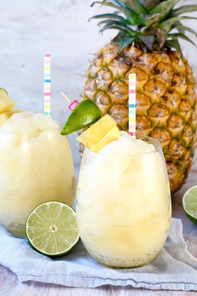 Pineapple Limeade Slush with Fresh Pineapple