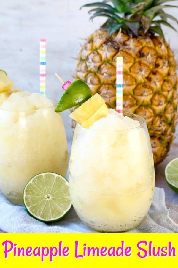 Limeade Slush with pineapple