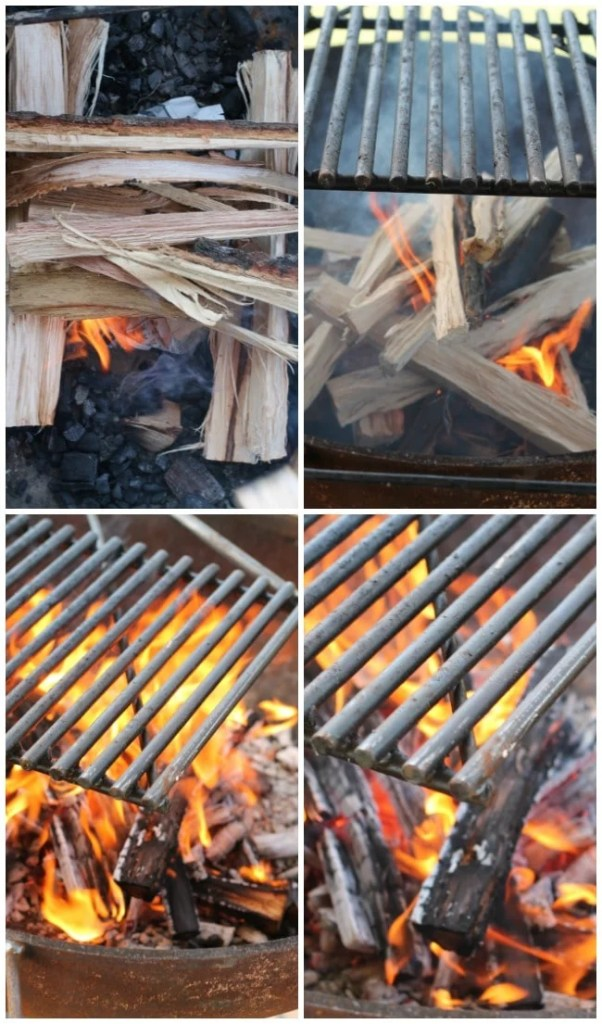 Wood Fire in an open grill for grilling ribs