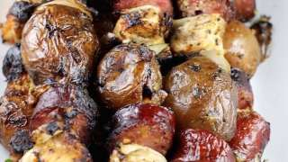 Smoked Sausage Chicken and Potato Kabobs