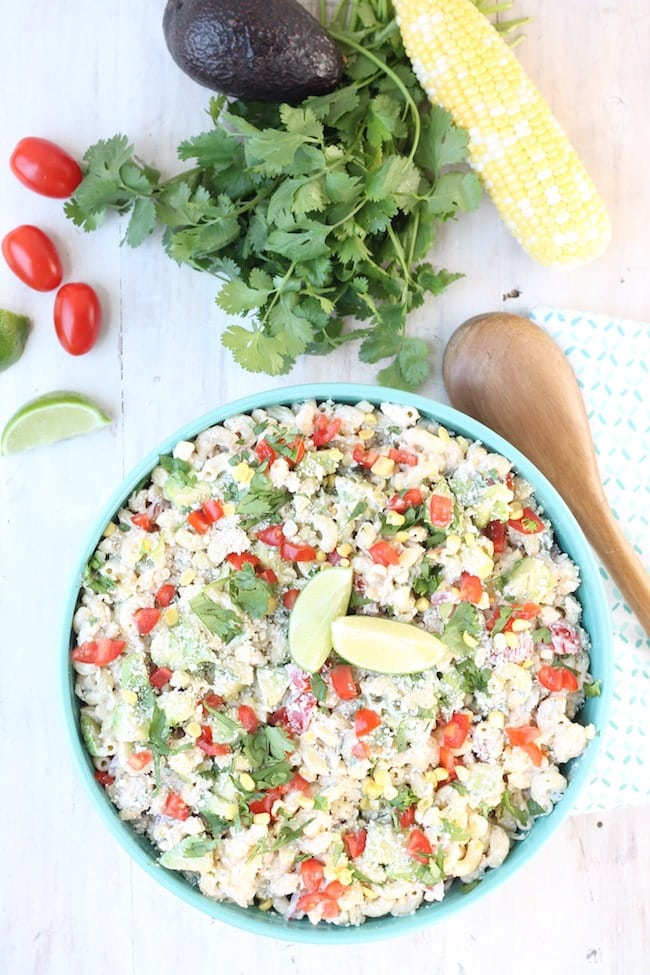 Mexican Street Corn Pasta Salad with Avocado and Tomatoes