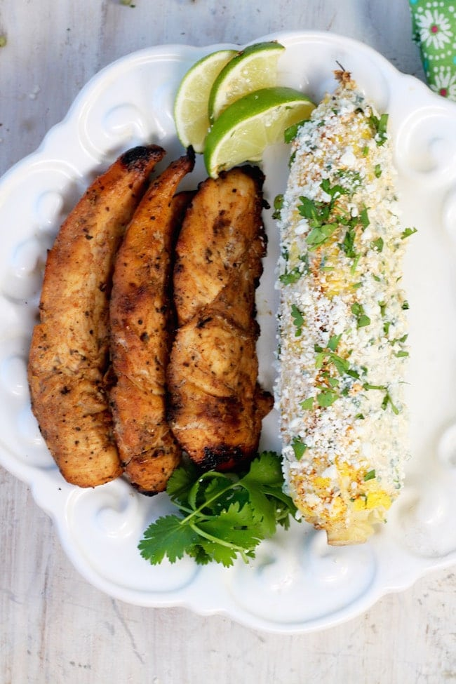Spicy Honey Grilled Chicken Tenders and Grilled Mexican Street Corn