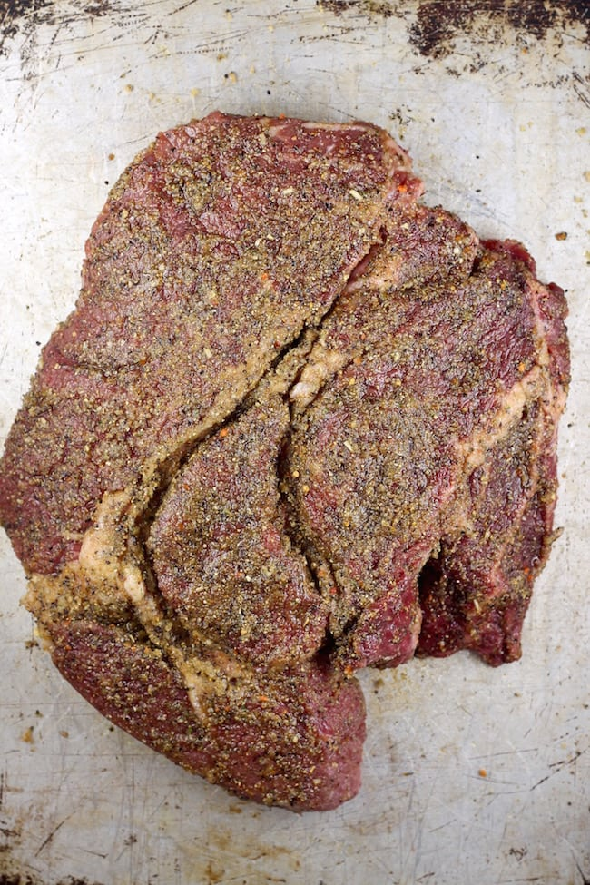 Brown Sugar Dry Rub for Roast Beef ready for the smoker
